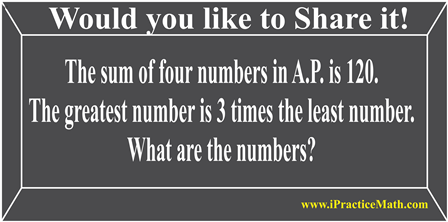The sum of four numbers in A.P.