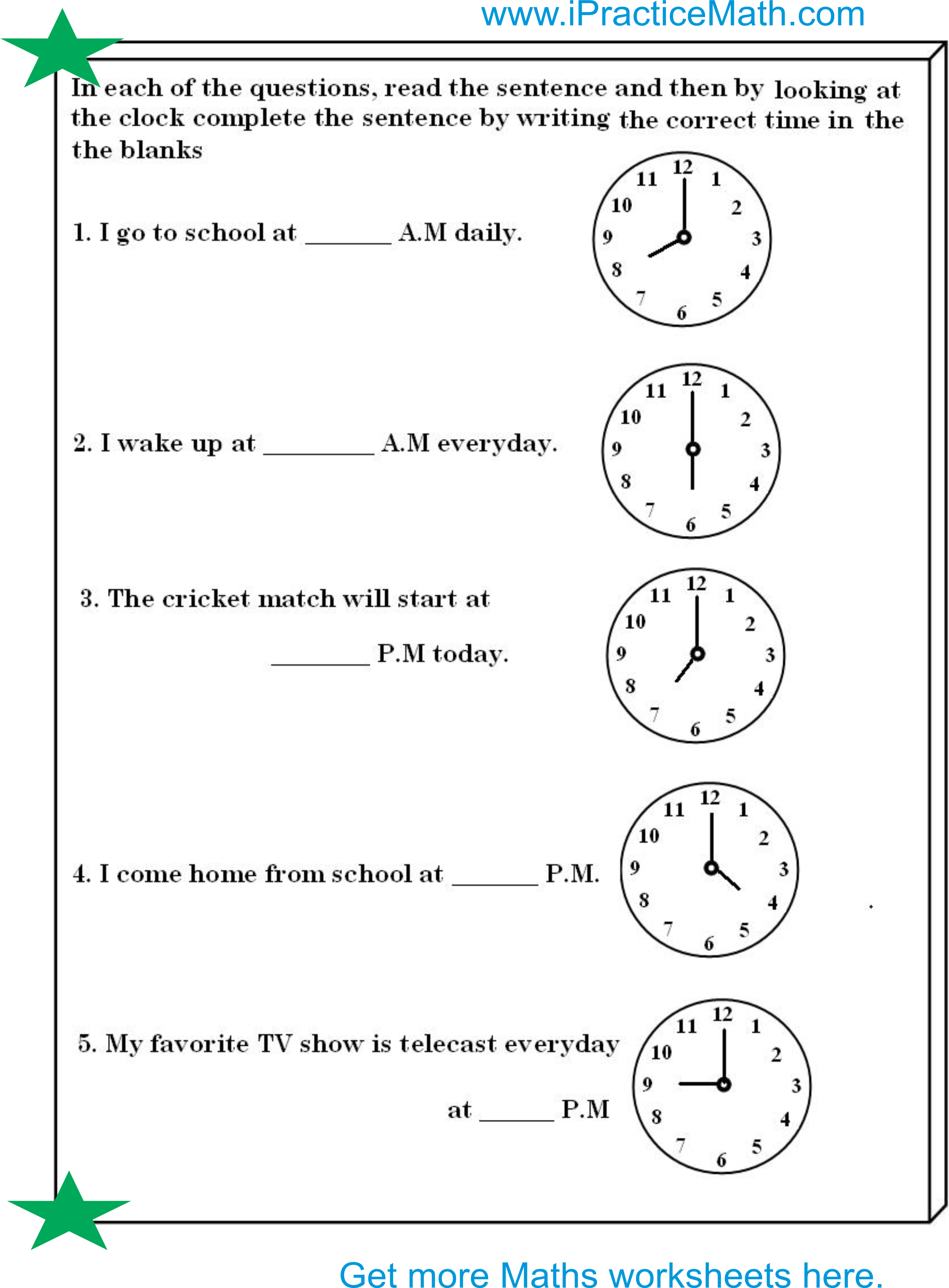 Download Clock Worksheet