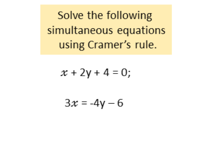 simultaneous equations using Cramer's rule