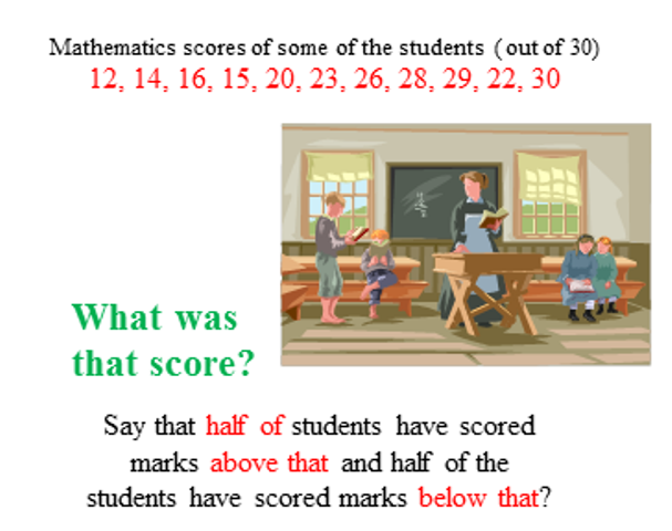 The representative value of mathematics scores ,