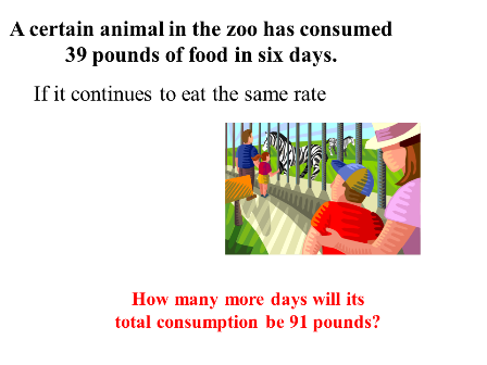 In the zoo consumption  of food in six days.